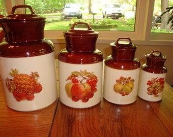 Vintage McCoy Ceramic Fruit Canisters
