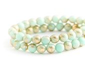 Czech Glass, Opaque Mint, Metallic Gold, Smooth Pressed Druk Rounds, Jade Spacer Beads (6mm) x 25