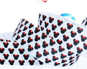 """Lot 3 yards Grosgrain Ribbon, 7/8"""" Grosgrain Ribbon,Disney Mickey and Minnie ,Printed Ribbon, Hair bow ribbon, Sewing Ribbon"""