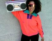 Vintage Fleece Lined Windbreaker Jacket, 80s COLUMBIA Brand NEON Outdoor Ski Zip Up Bomber Jacket, 80's Hip Hop Party, Womens M L
