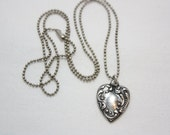 Vintage Heart Necklace, Oxidized Filigree Pewter Heart Charm, Oxidized Matte Silver Tone Ball Chain