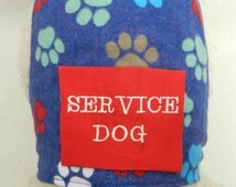 Puppy Paw Print Frenzy Blue and Red SERVICE DOG Harness. Perfect Item for your Cat, Dog or Ferret. All Items Are Custom Made For Your Pet.