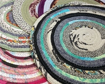 Round Fabric Placemats, MultiColors Buy 1 or Bulk, 12 inch Fabric Table Mats Braided Rug Style, Washable, Absorbent Boho Home Decor Colorful