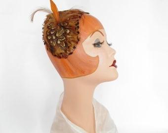 Vintage feather hat, bird on 1950s headband hat