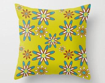 Yellow Outdoor Pillow,  Modern Outdoor Pillow, Retro Floral  Outdoor Pillow, Mid Century Modern Outdoor Pillow, Flowers Pillow