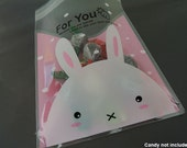 Plastic Bags Cookie Bags Self Adhesive Plastic Transparent Clear Pink Gift Bag with Rabbit and Words For You 48pcs