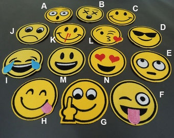 Emoji Patch - Face Patches Yellow patch Smile Emoji Patches Applique embroidered patch Iron On Patch Sew On Patch