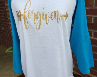 Forgiven with arrow Raglan Sleeve Shirt