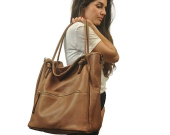 Leather handbag,shoulder bag,everyday bag .Kalypso in noce(tan)  leather
