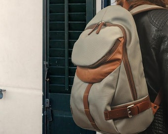 Waterproof Backpack,schoolbag, for laptop,for him,for her, with leather details,Nota in grey  MADE TO ORDER