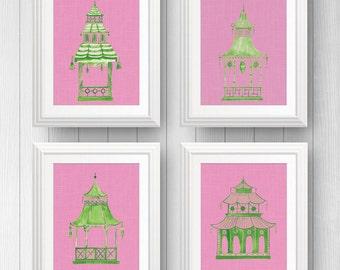 Chinoiserie Prints, Pink Pagoda Print, Pagoda Wall Art, Hollywood Regency, Green Pagoda,  Chinese Lantern,  Eastern Asian Art, Palm Beach