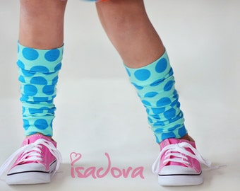 Blue polka dot knit leg warmers