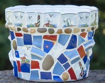 "Mosaic Garden Flower Pot 7.5""x6"" Nautical Mothers Day Planter Pot READY TO SHIP"