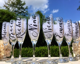 Set of 10, Personalized bridesmaid champagne glasses, personalized champagne flutes, toasting glasses