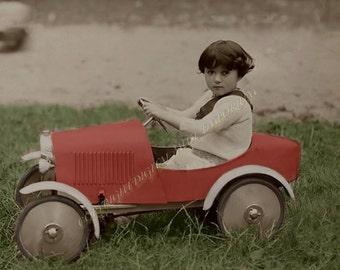 Little Red Race Car  Instant Download Vintage Photograph