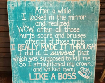 I Survived Straightened My Crown Like A Boss SIGN Subway Distressed Handpainted Wooden Custom teal Ovarian Cancer Awareness Gift 24x24 Whagn