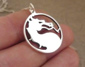 Mortal Kombat Dragon Sterling Silver Pendant on chain