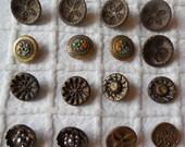 16  Miniature Victorian Metal Buttons
