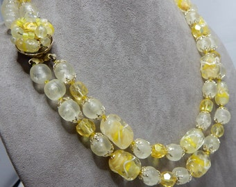 2 Strand Vintage Yellow Givre Art Glass Bead Necklace    NBC3