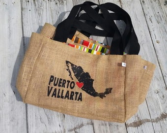 5+ Puerto Vallarta - Mexico - Custom Destination Wedding Welcome Beach Tote Bags - Eco-Friendly and Handmade from Recycled Coffee Sacks
