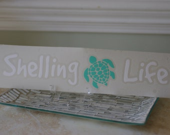 Shelling Life® Vinyl Decal - Beach Decal - Sea Turtle Decal - Car Decal