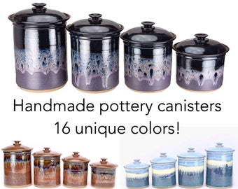 Made To Order Kitchen Canister Set In Your Choice Of Glaze. Wheel Thrown Pottery  Canisters