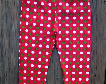 Red White  Green Polka Dots    Knit Leggings Red   Leggings Baby  Girls Leggings   Girls  Knit Leggings