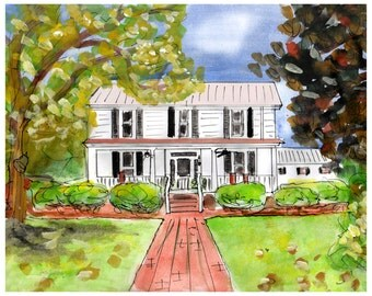 ORIGINAL HOME PAINTING. Custom painting of your home Commission a painting of your home in watercolor and ink from uk artist Stephanie B