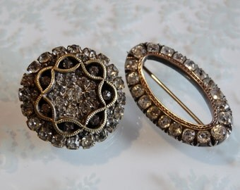Destash Antique Brooches ~ Two Edwardian Petite Diamond Paste Brooches ~ Both Possibly Sterling Silver