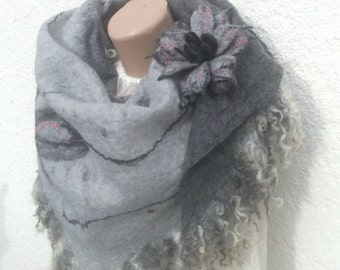 Felted Scarf Felted Brooch