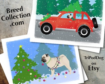 Pug Dog Christmas Cards from the Breed Collection - Digital Download  Printable
