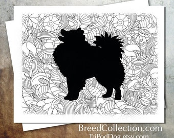 American Eskimo Dog Zentangle Silhouette Card from the Breed Collection - Digital Download  Printable