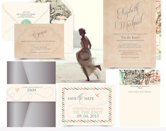 Destination wedding . Travel Wedding invitation suite. Invitation sample.printing services available