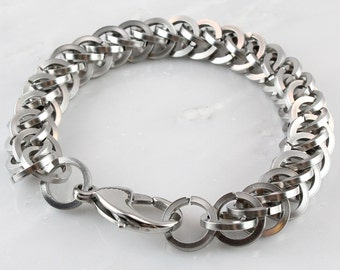 Bold Stainless Steel Square Wire Persian 3 in 1 Bracelet