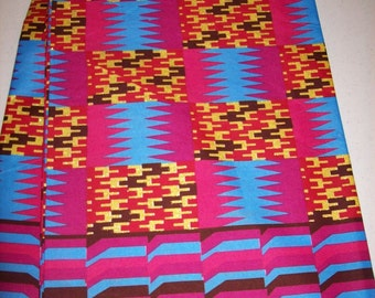 Magenta Glitter New Kente Print African fabric 6 yards, Bold Magenta and blue with Gold Glitter / African fabrics/ Africa/ Traditional kente