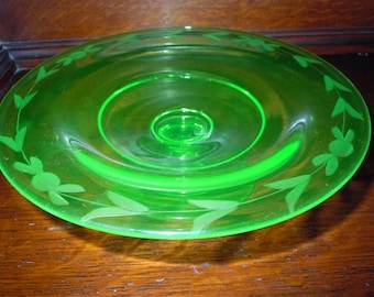 Vintage Green Depression Glass Footed Compote Candy Dish BonBon Dish Etched Design