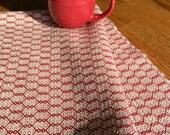 Organic Cotlin Towel, Handwoven Kitchen Towel, Woven Hand Towel, Hand Woven Guest, Woven Dish Towel, Tea Towel, Dark Red and Natural Beige