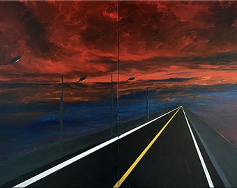 Abstract painting - Title: The long road  Original- large - ( 30'' x 48''  x1.5'' deep ) DanielBrunosArts