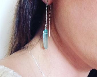 Threader earrings, quartz point earrings, sterling silver threaders, dangle earrings, blue gemstone