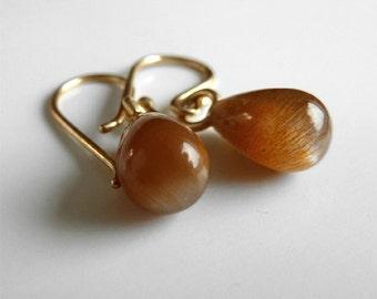 14k gold earrings sunstone drop earrings solid gold earrings gold gem earrings fine jewelry gemstone drop earrings gold dangle earrings