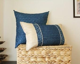 Patchwork Indigo Lumbar Pillow Cover , Blue Geometric Print Lumbar Pillow Cover , Block Print Cushion Covers in Silk , Decorative Pillow