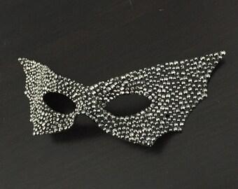 Pewter Crystal Batwing Mardi Gras Masquerade Mask