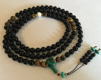 Tibetan Mala Austere Black Onyx Mala with Tiger Eye and Turquoise Guru Bead for Meditation