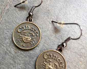 Cancer jewelry on SALE, Cancer Horoscope earrings, Cancer zodiac earrings, jewelry with a meaning, brass zodiac earrings, horoscope jewelry,
