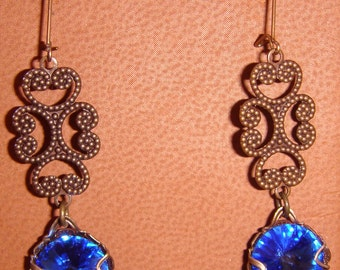 Swarovski Crystal Sapphire Pierced Earrings with Natural Brass