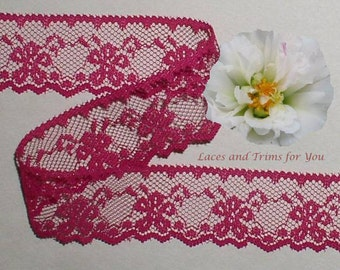 Fuchsia Lace Trim 12/24 Yards Scalloped 1-1/8 inch wide Lot H01C Added Items Ship No Charge