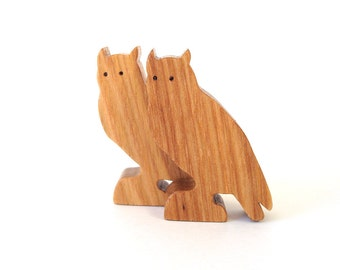 Woodland Owl Toy Waldorf  Wood Toys Wooden Miniature Noah's Ark Animals Zoo Children's Toy Pecan