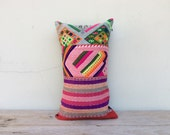 "Vintage Ethnic Textile Cotton Hand Woven ikat Decorative Throw Pillows Case 12"" x 20"" Pieces Of Tradition Costume / reveres quality hemp"