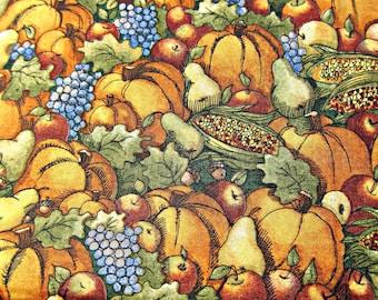 Fabric Destash, Autumn Fabric, Fall Fabric, Pumpkin Fabric, Thanksgiving Fabric, Harvest Fabric, Cotton Fabric, Orange Fabric
