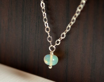 Genuine Opal Necklace, Sterling Silver, Semiprecious Gemstone, October Birthstone Pendant, Dainty Simple Child Jewelry